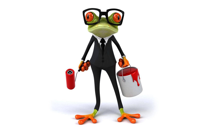 Photo wallpaper frog, frog, paint, funny, glasses, elegant