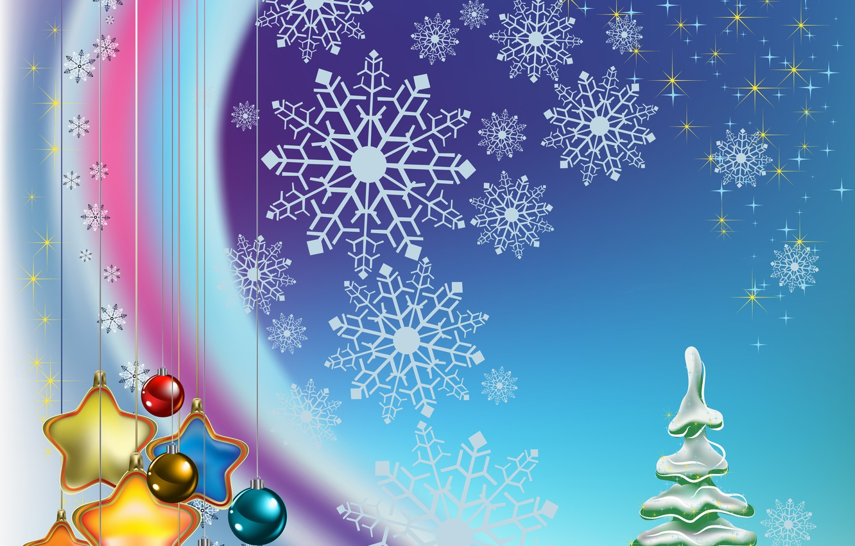 Photo wallpaper stars, balls, decoration, snowflakes, balls, toys, graphics, tree, stars, Christmas, New year, tree