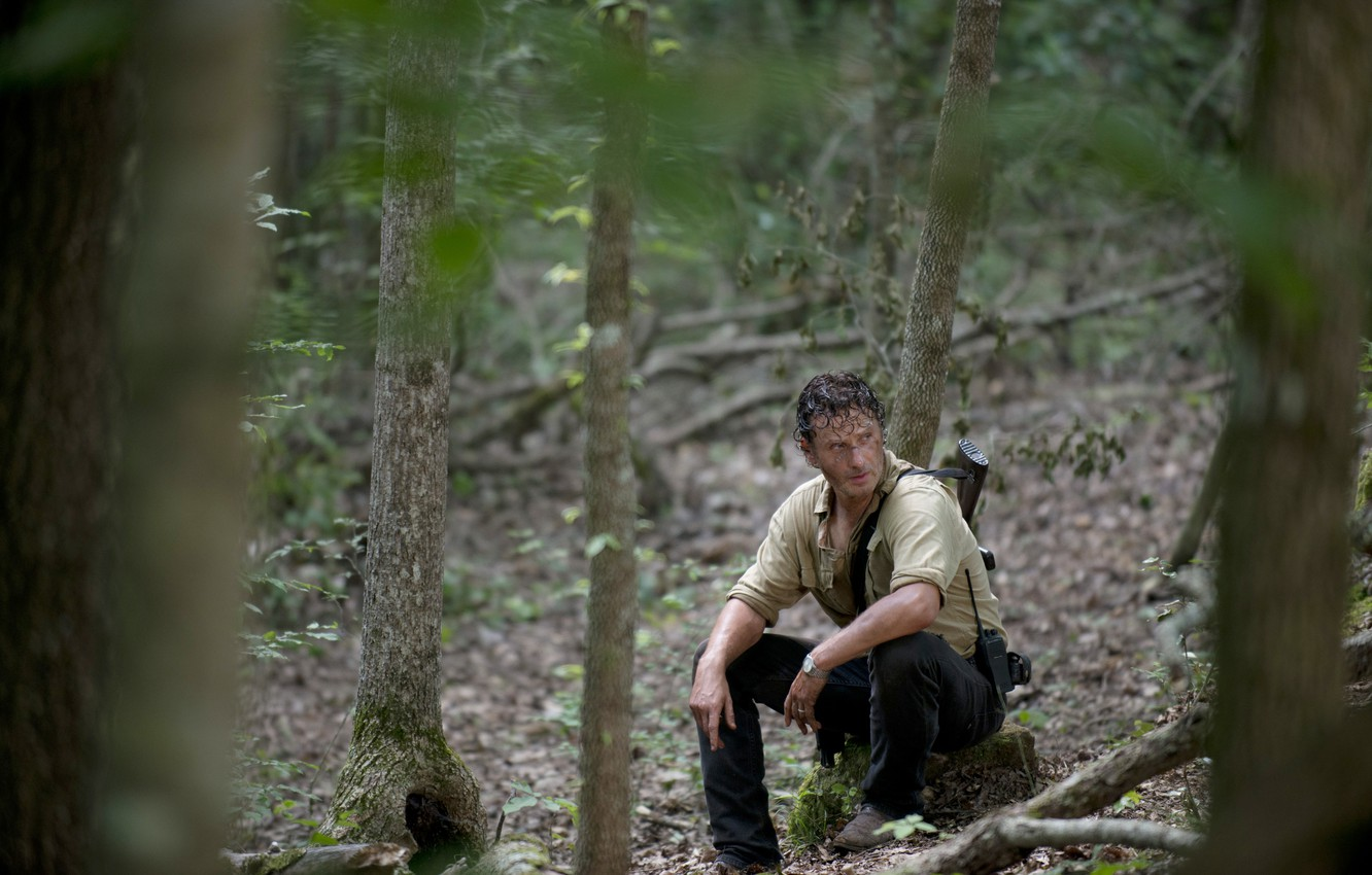 Photo wallpaper forest, trees, The Walking Dead, Rick Grimes, The walking dead, Andrew Lincoln