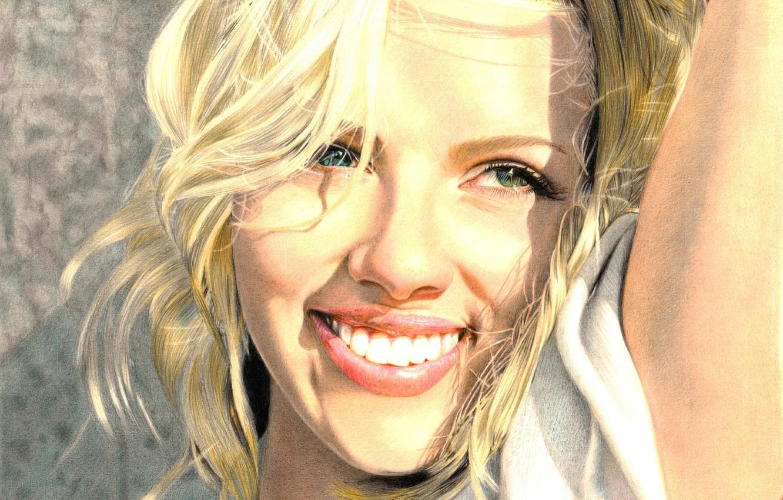 Photo wallpaper smile, actress, Scarlett Johansson, blonde, painting, green eyes