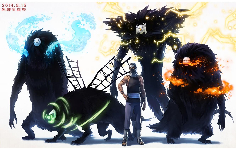 Photo wallpaper water, fire, lightning, the air, monsters, elements, mask, naruto, anime, art, Kakuzu