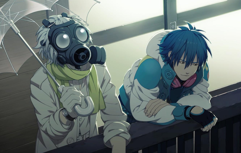 Photo wallpaper umbrella, headphones, scarf, gas mask, gloves, guys, Clear, DRAMAtical Murder, Aoba