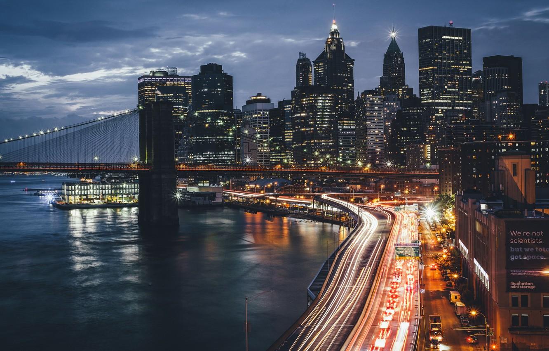 Photo wallpaper night, bridge, the city, lights, USA, New York