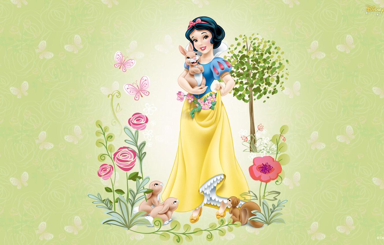 Photo wallpaper animals, girl, flowers, animals, cartoon, friendship, snow white, disney, children's