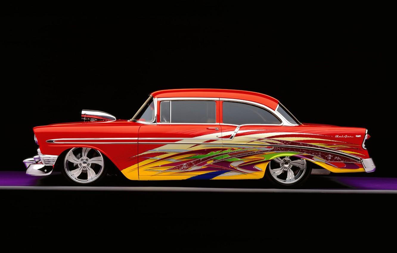 Photo wallpaper retro, tuning, Bel Air, Chevy, Custom, 1956