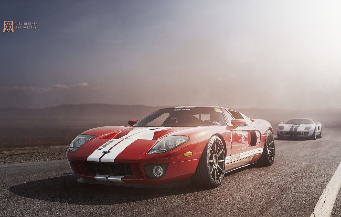 Photo wallpaper Ford, Red, Cars, Sun, White, Road, Ligth