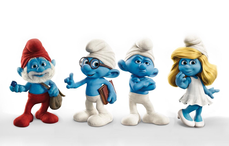 Photo wallpaper men, white background, blue, dad, cartoons, gnomes, Smurfs, the Smurfs, grumpy, smurfs, znayka, surfinia, smurfette