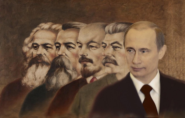 Photo wallpaper painting, Vladimir Putin, Karl Marx, Joseph Stalin, Vladimir Ilyich Lenin, Friedrich Engels