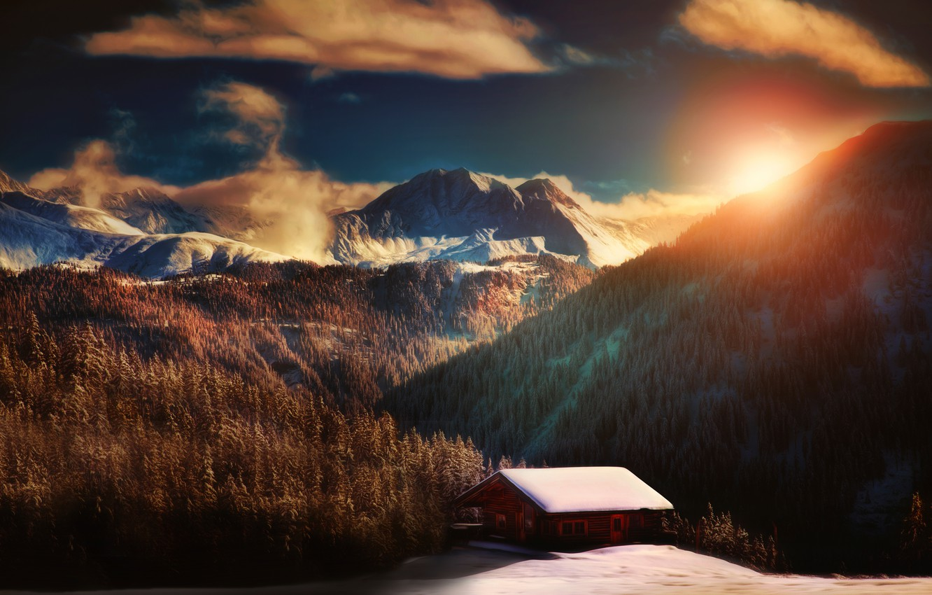 Photo wallpaper forest, the sun, mountains, house, treatment, A place to relax