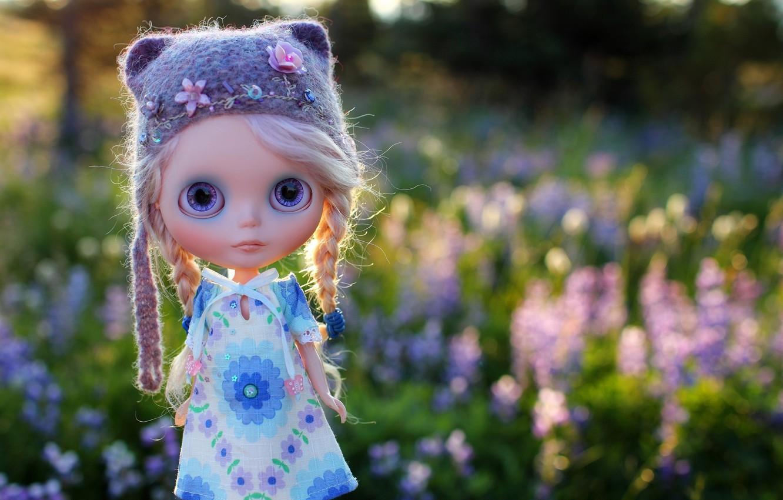 Photo wallpaper field, grass, hat, toy, doll, braids, cap