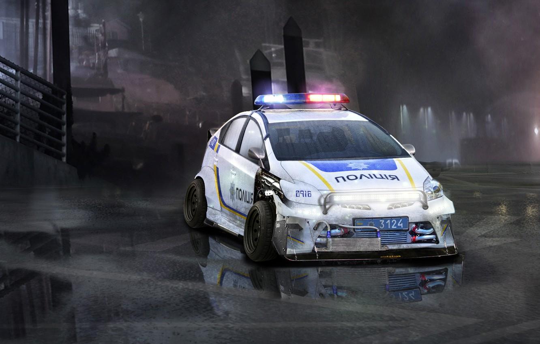 Photo wallpaper wet, auto, fog, tuning, figure, police, puddle, toyota, police, hybrid, Toyota, ukraine, paint, cop, cops, …