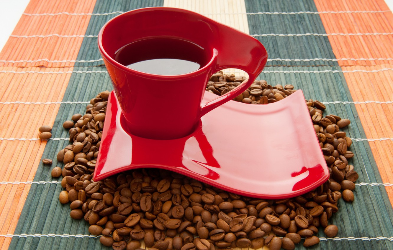 Photo wallpaper coffee, Cup, drink, coffee beans