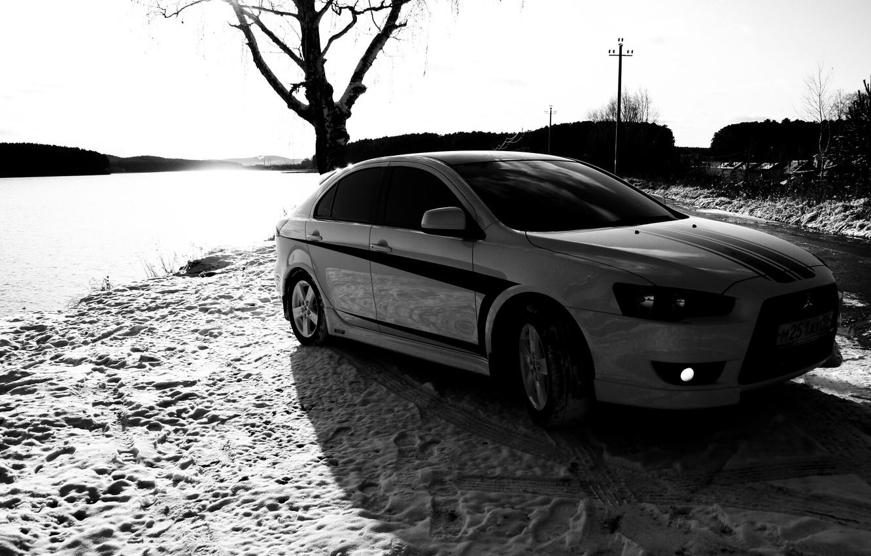 Photo wallpaper black and white, Tree, Snow, Traces, Mitsubishi, Lancer X10