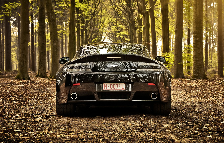 Photo wallpaper leaves, trees, black, Aston Martin, Aston martin, black, vantage, tree, back, v12, foliage