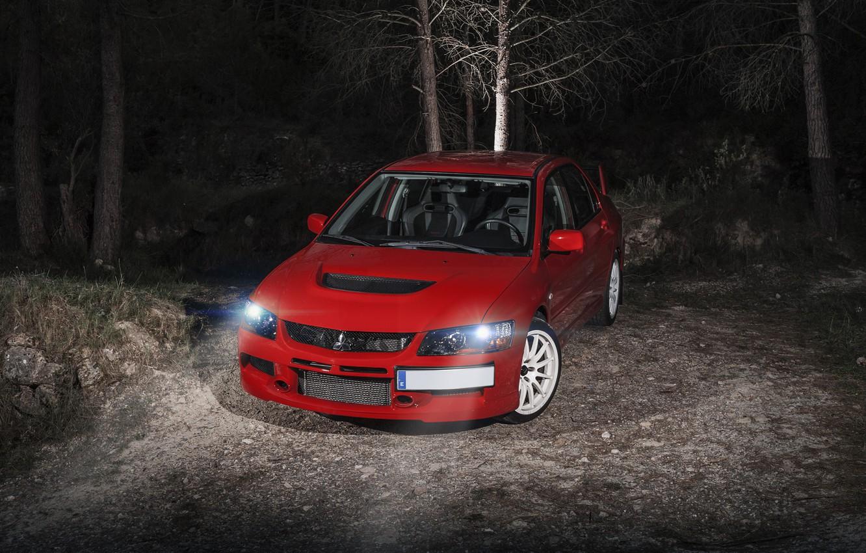 Photo wallpaper night, red, before, Mitsubishi, red, Evo, Mitsubishi, evolution
