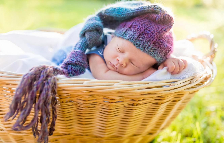 Photo wallpaper basket, sleep, cap, baby, sleep
