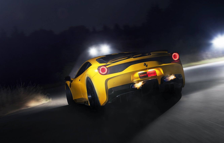 Photo wallpaper road, yellow, fire, speed, ferrari, Ferrari, yellow, back, exhaust pipe, 458 speciale