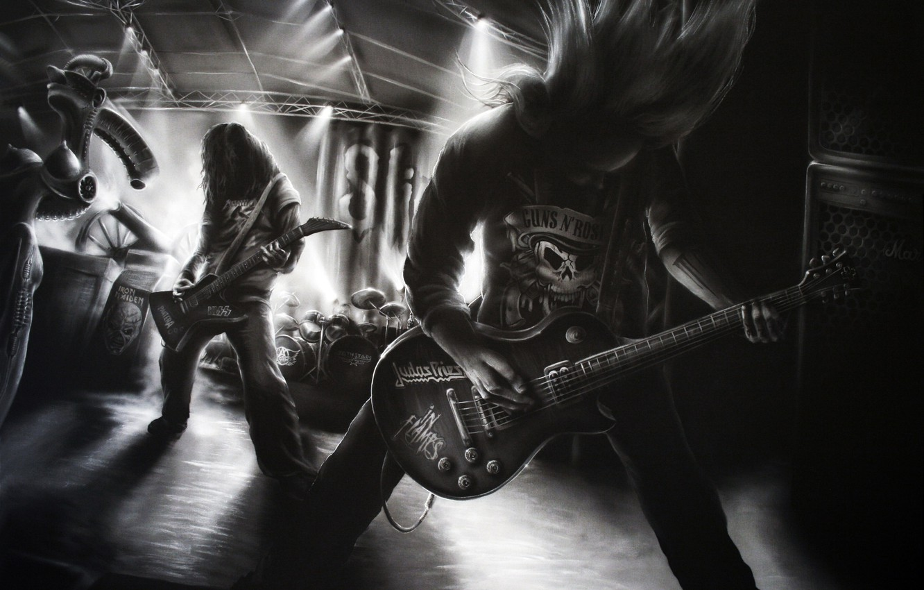 Photo wallpaper music, figure, guitar, black and white, group