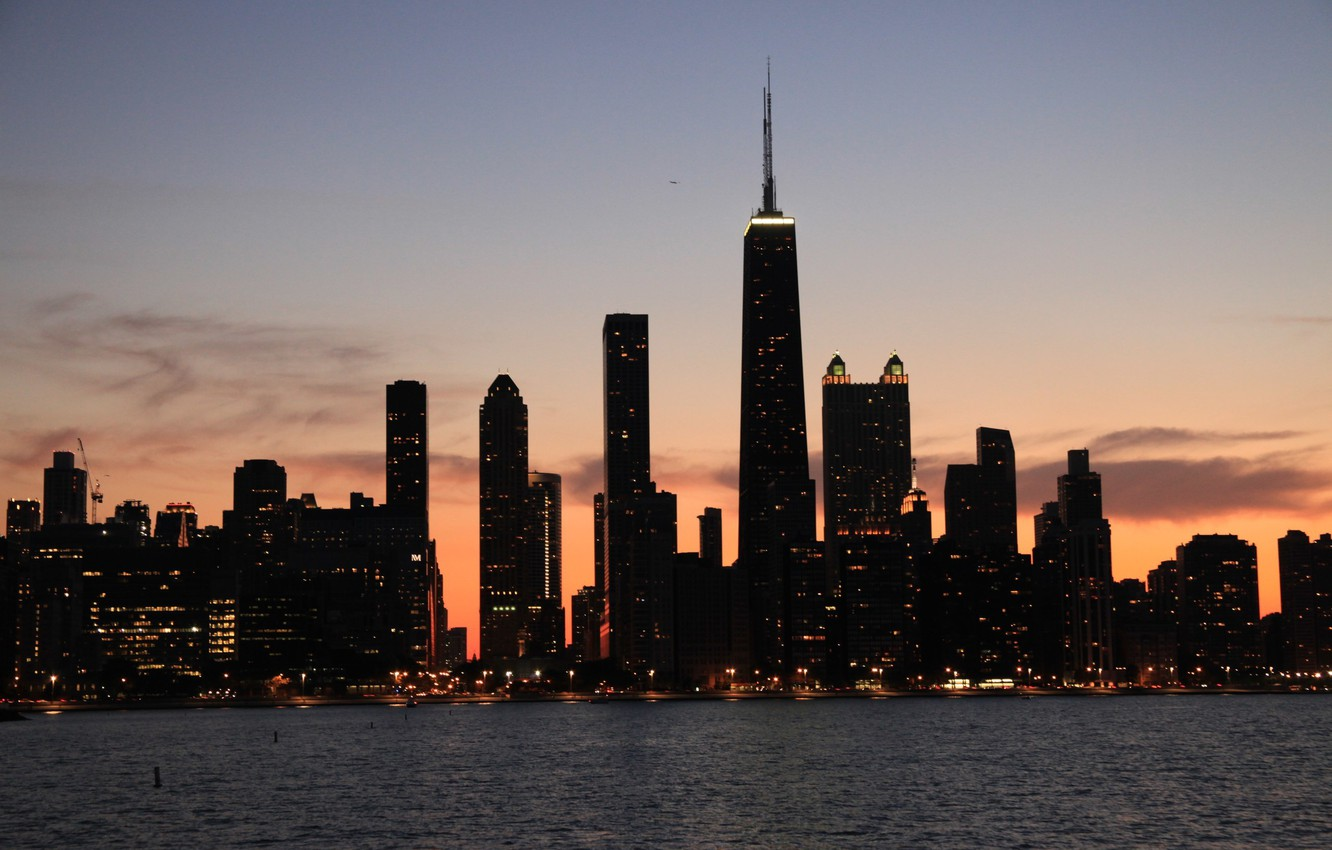 Photo wallpaper lights, building, skyscrapers, the evening, America, Chicago, Chicago, USA, skyscrapers