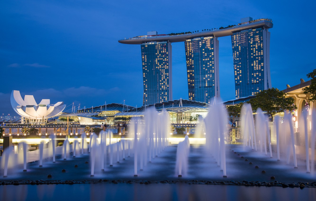 Photo wallpaper the sky, night, lights, lights, skyscrapers, backlight, Singapore, architecture, blue, megapolis, sky, fountains, blue, night, …