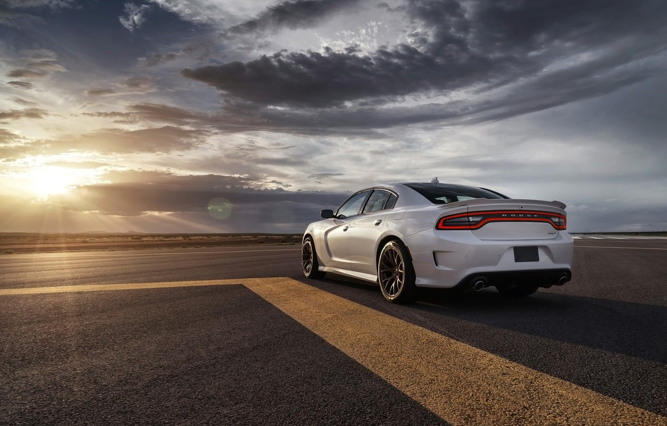 Photo wallpaper the sky, background, Dodge, Dodge, rear view, Charger, Hellcat, SRT, The charger