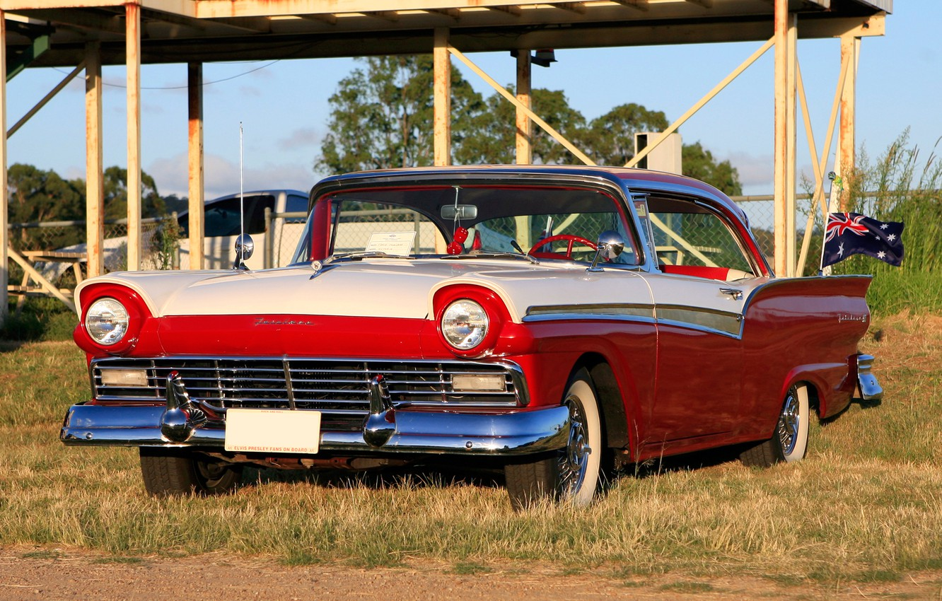 Photo wallpaper coupe, Ford, Ford, exhibition, Hot, coupe, 1957, rod, at the Twilight, Show, Rod, hot, Fairlane
