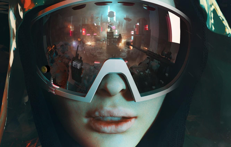 Photo wallpaper girl, the city, reflection, glasses, machine, hood, revolution, Homefront: The Revolution