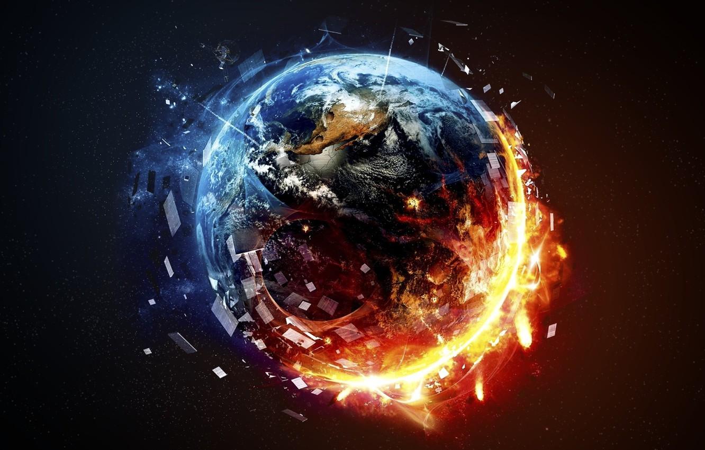Photo wallpaper fire, planet, death, destruction