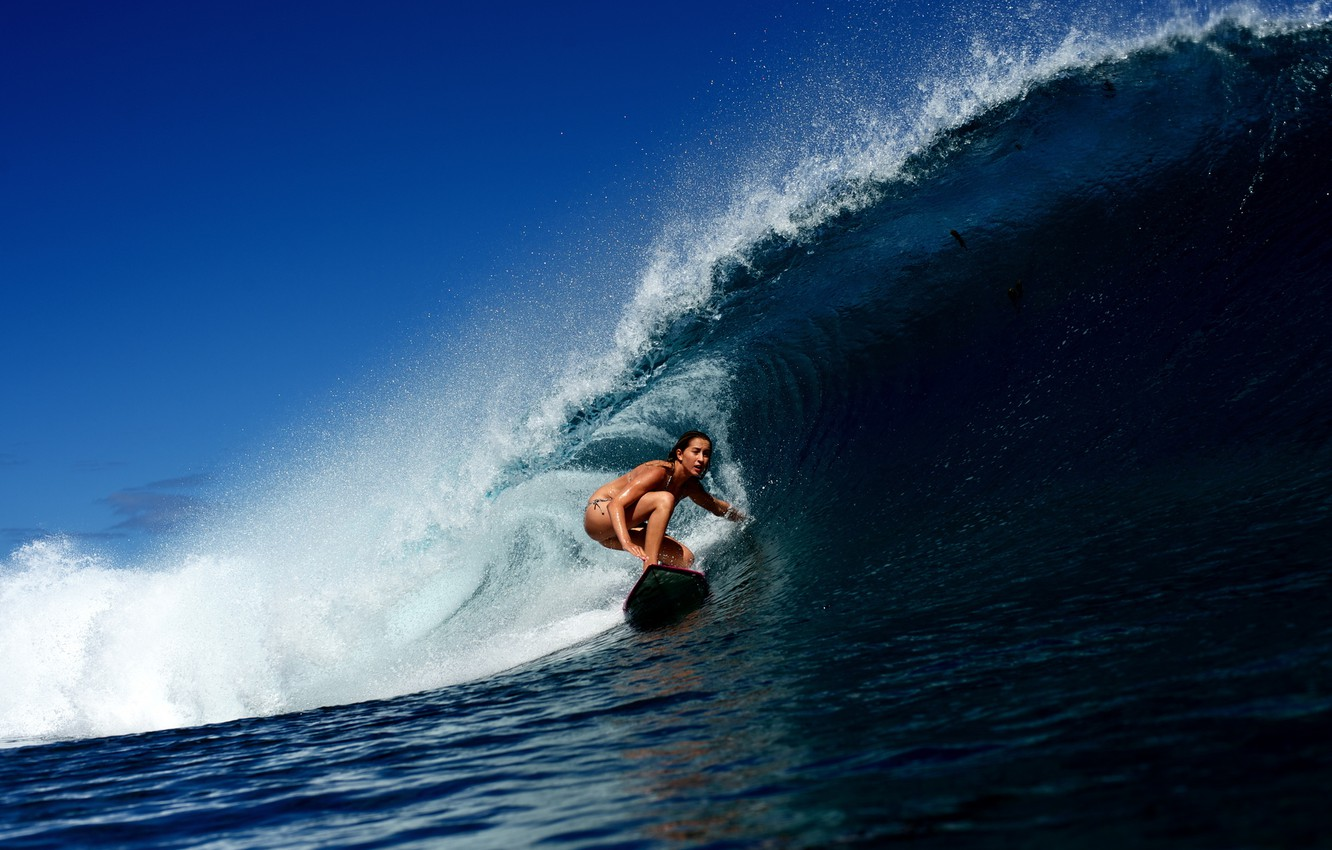 Photo wallpaper girl, the ocean, wave, surfing, Board, surfing