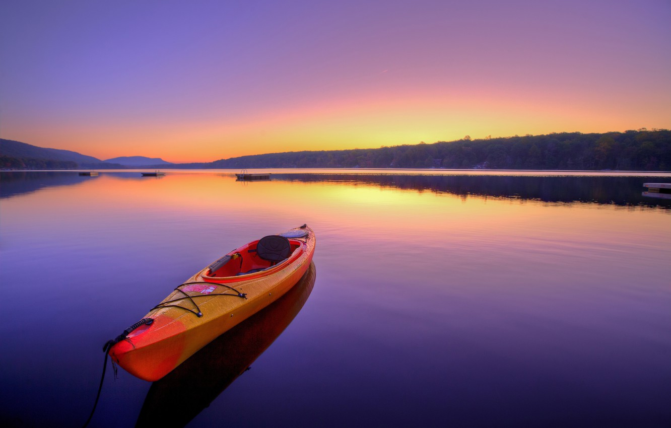 Photo wallpaper landscape, space, river, dawn, stay, boat, calm, silence, the atmosphere, summer, sunrise, kayak, bokeh, boat, …