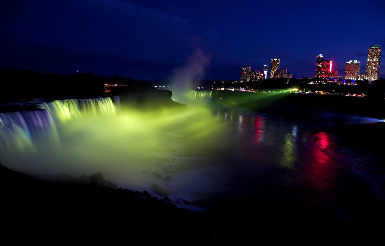 Photo wallpaper light, night, the city, lights, river, waterfall, home, USA, spotlight, Niagara Falls, Niagara Falls