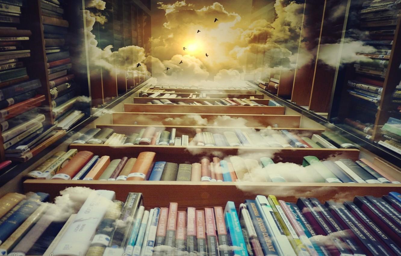 Wallpaper Clouds Birds Sun Story Dreams Reading Books