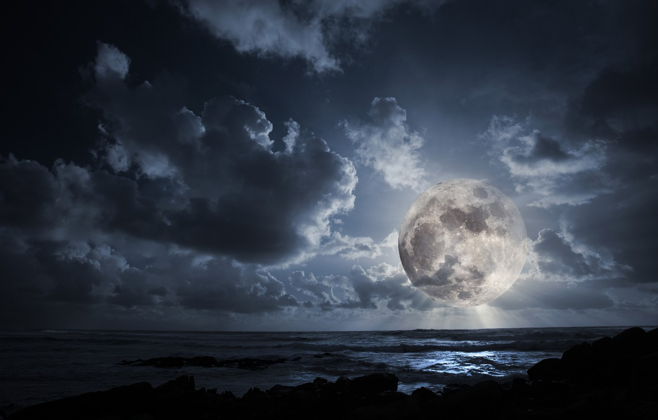 Photo wallpaper clouds, night, the ocean, the moon, the full moon