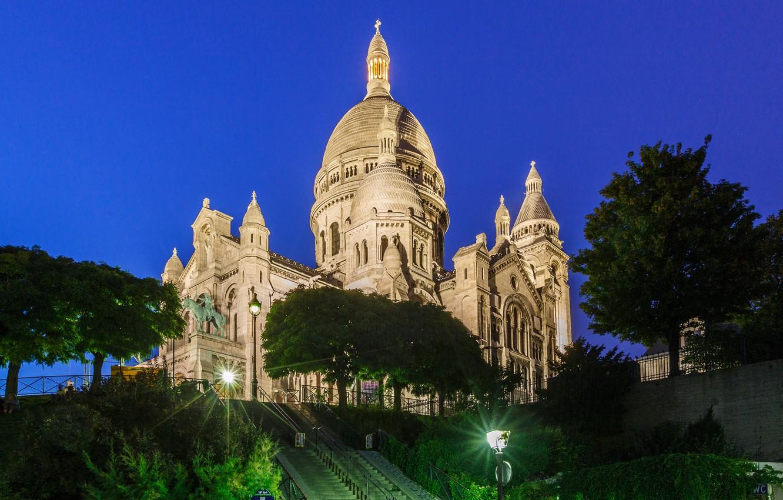Photo wallpaper night, lights, France, Paris, Montmartre, sacré-Coeur