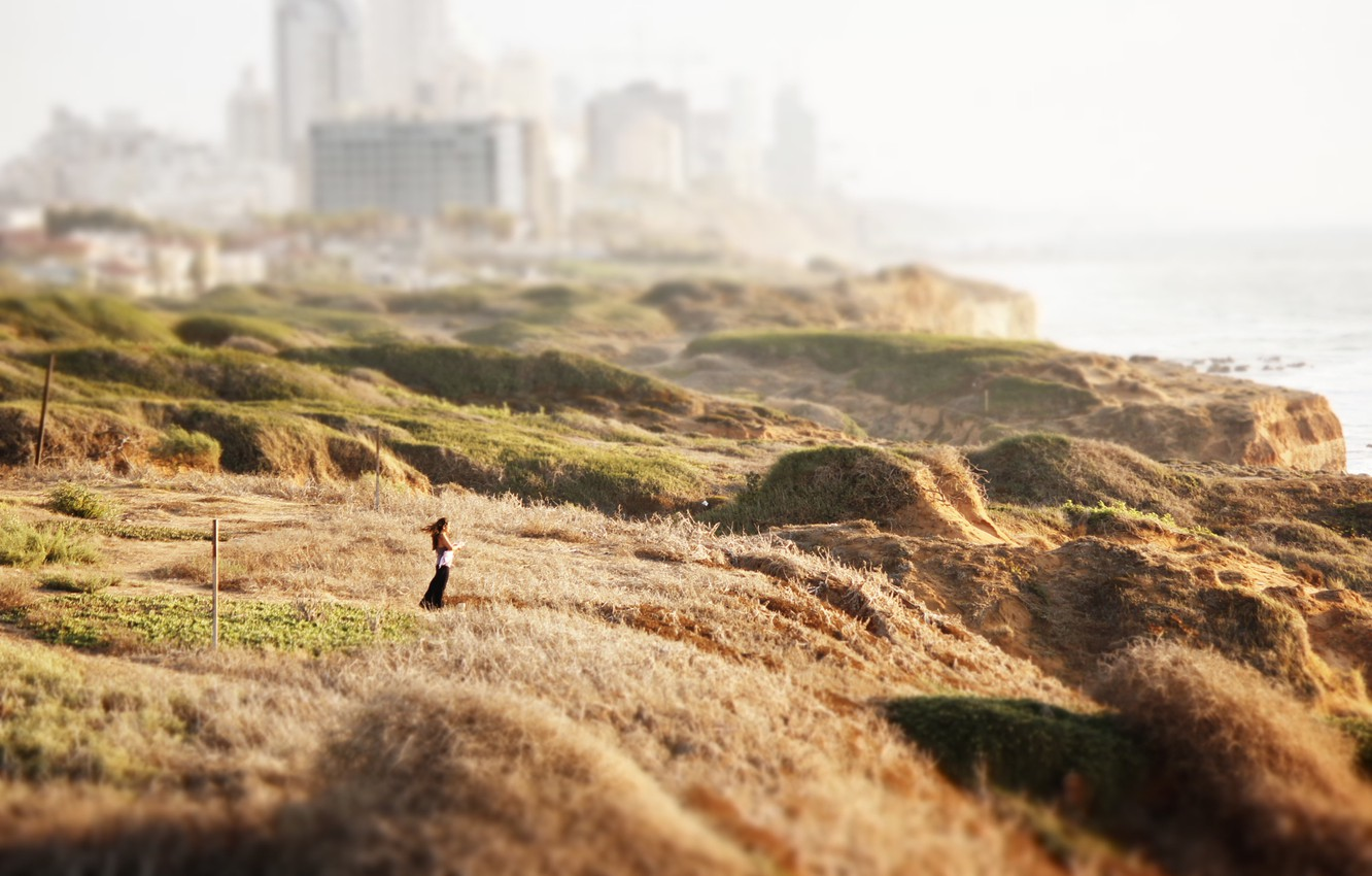 Photo wallpaper girl, the city, the wind, shore