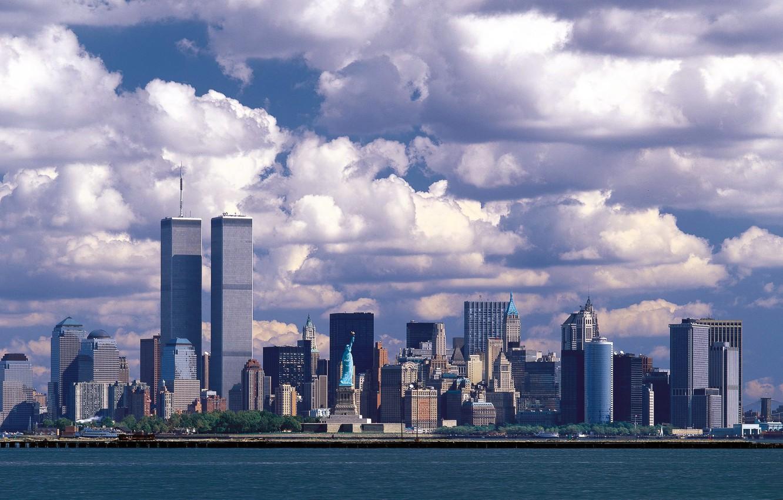 Photo wallpaper sea, the city, skyscrapers, USA, the statue of liberty, USA