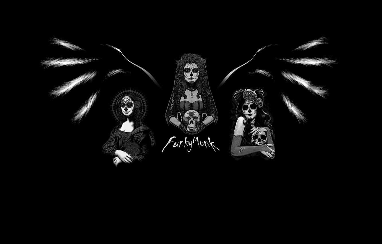 Wallpaper Girls Wings Minimalism Day Of The Dead Images For
