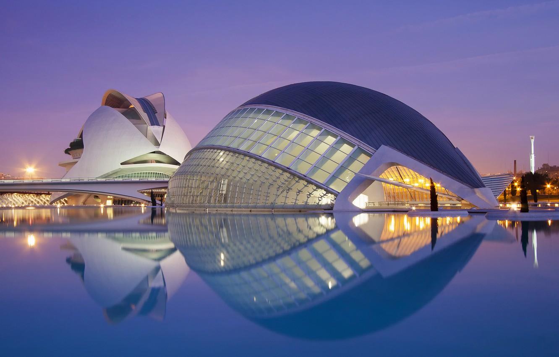 Photo wallpaper bridge, the city, the building, the evening, lighting, architecture, Spain, cinema, Spain, Valencia, The Hemisfèric, …