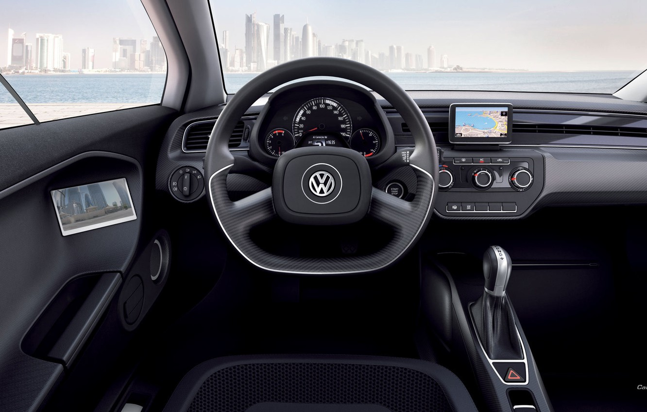 Photo wallpaper sea, the city, Volkswagen, XL1, the view from the driver's seat
