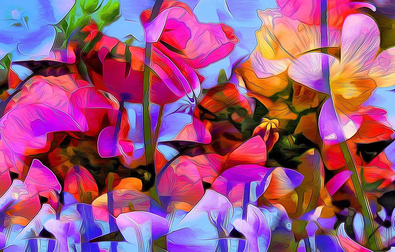 Photo wallpaper flowers, nature, rendering, paint, figure, plant, vector, petals