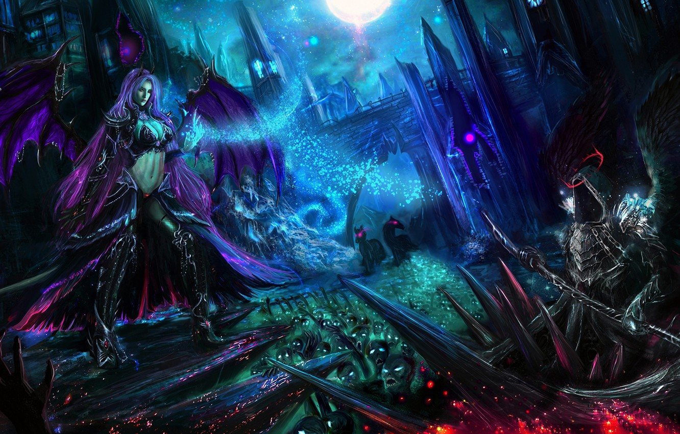 Wallpaper Light Night The Moon Woman Wings The Demon Hood