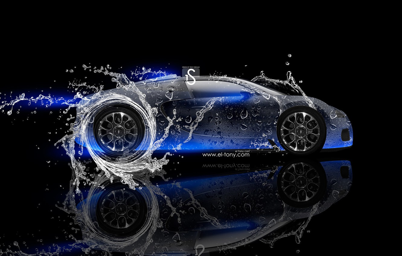 Wallpaper Water Neon Bugatti Veyron Blue Veyron Blue