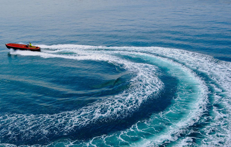 Photo wallpaper sea, trail, boat, Gulf, Gulf of Lion