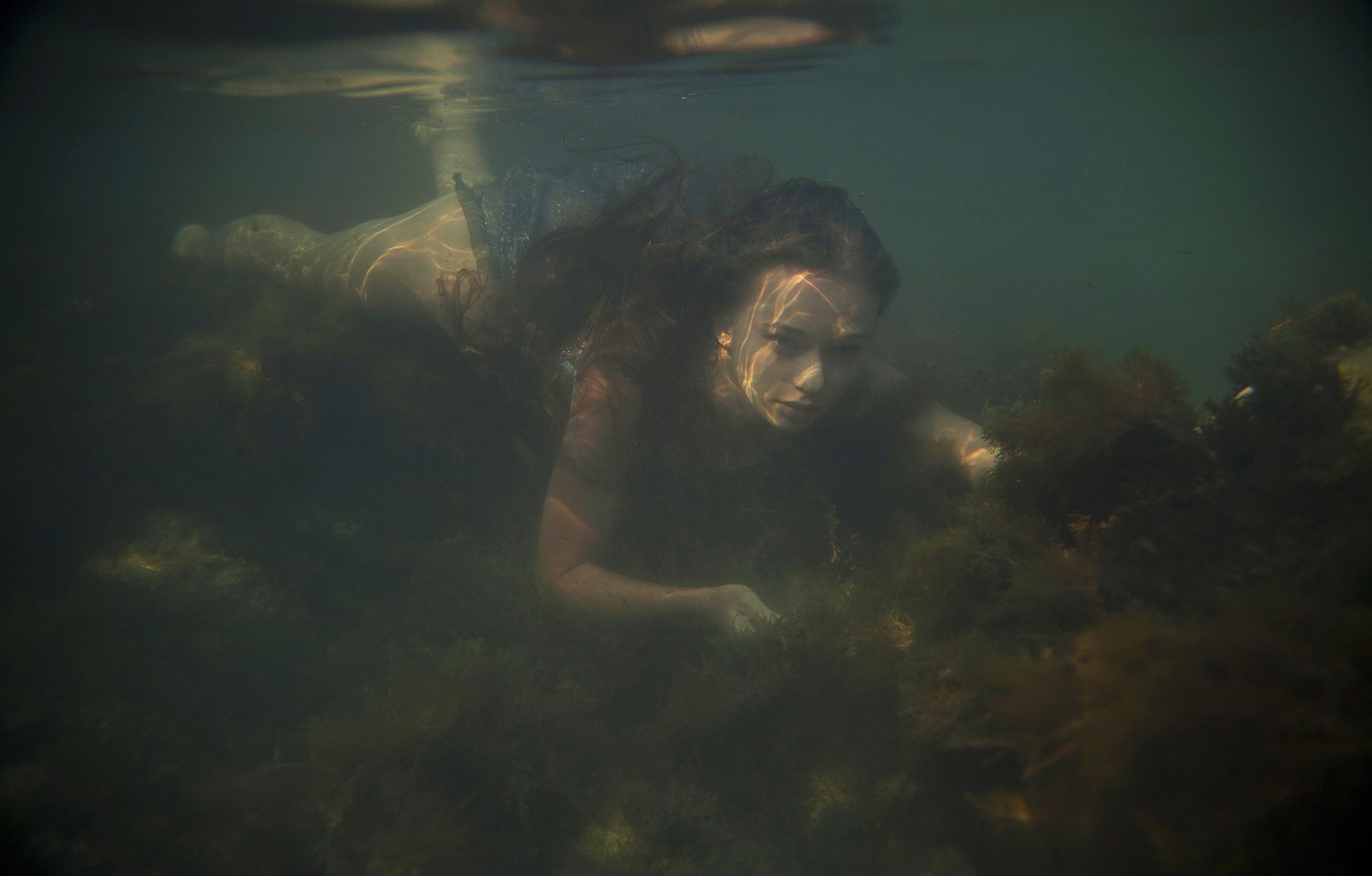 Photo wallpaper water, girl, the situation, the bottom, Milena D