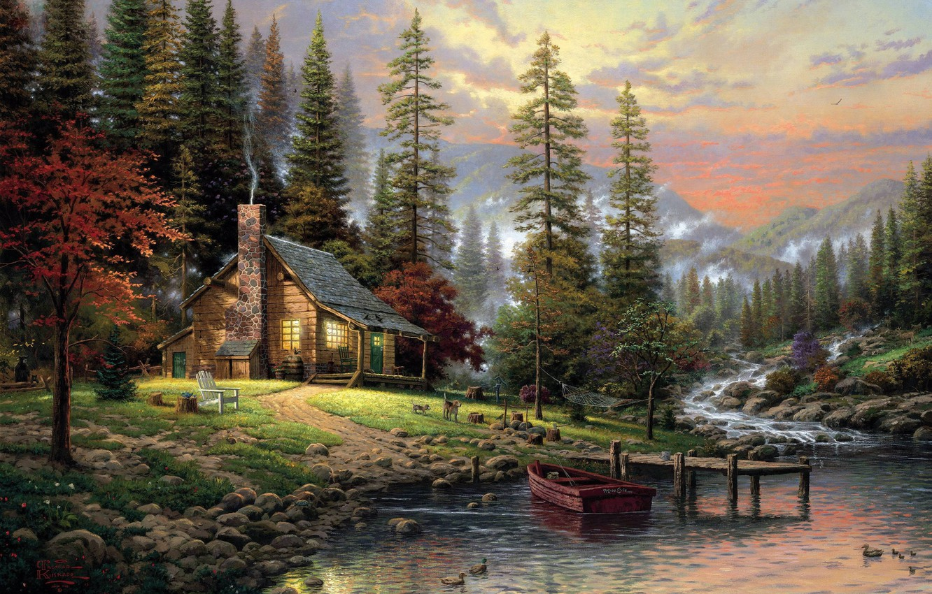 Photo wallpaper forest, dogs, fog, house, river, stones, boat, figure, picture, ate, protein, art, chair, drawings, pictures, …