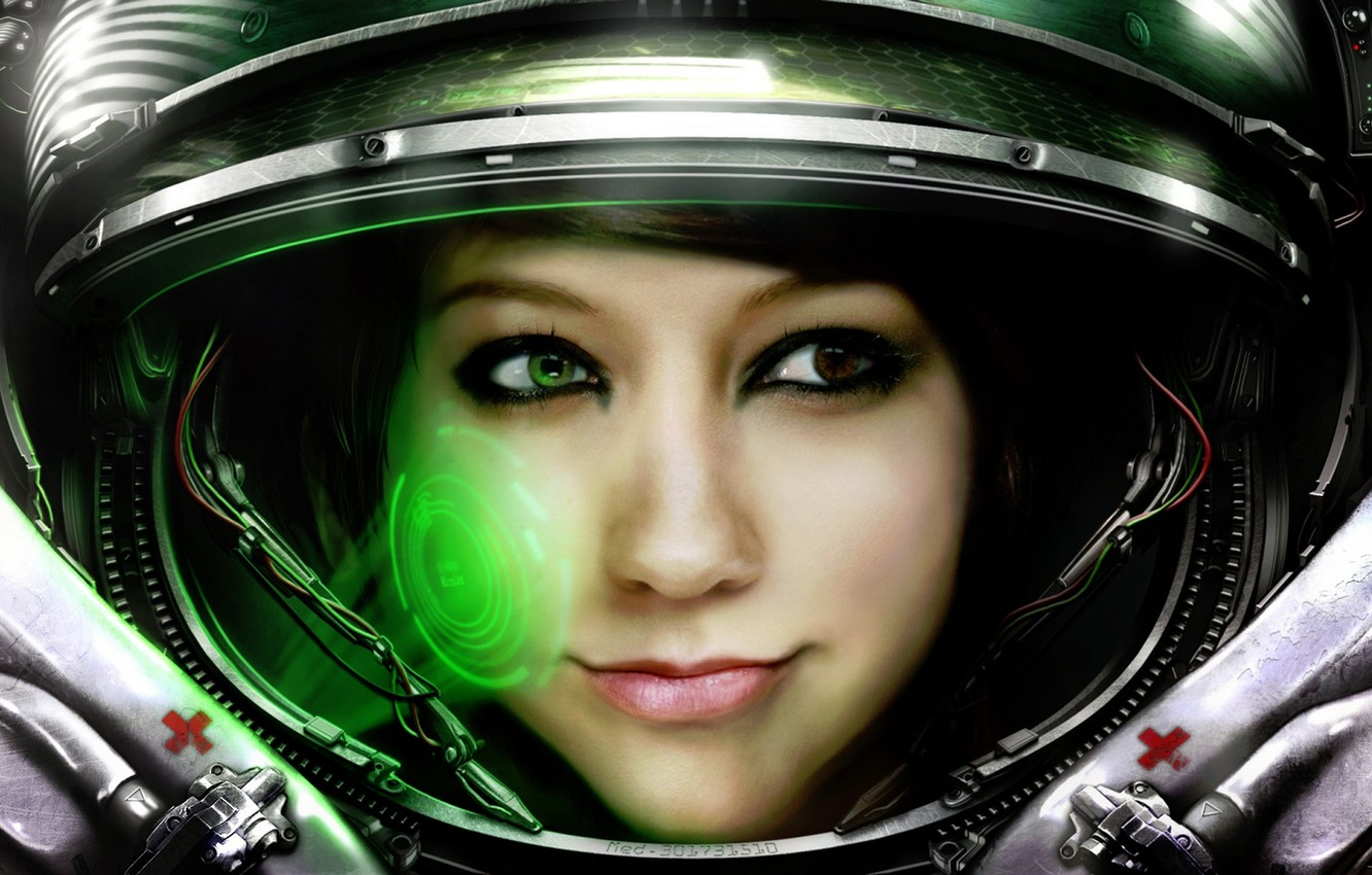 Photo wallpaper girl, the suit, Medic, Starcraft, astronaut, Boxxy