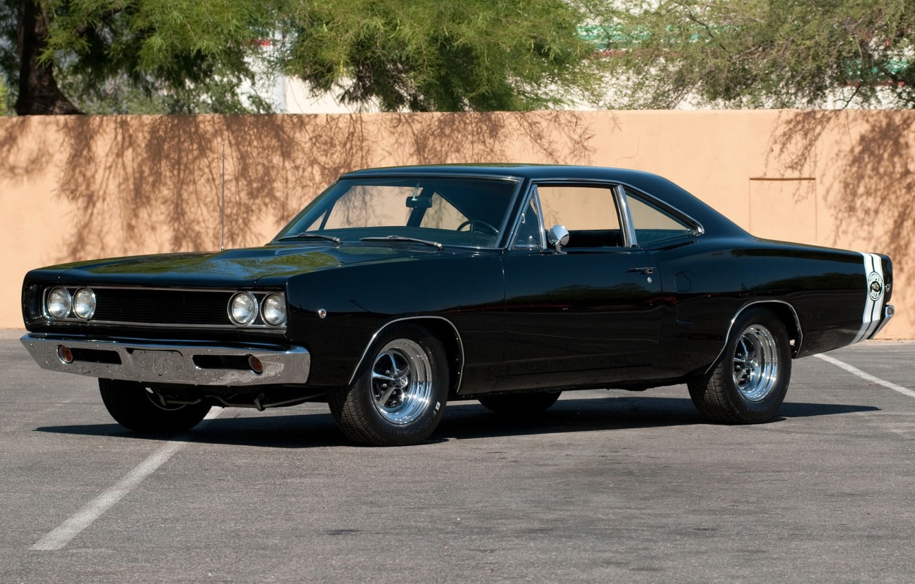Photo wallpaper background, wall, black, Dodge, Dodge, classic, Charger, the front, 1968, Muscle car, Muscle car, Super …