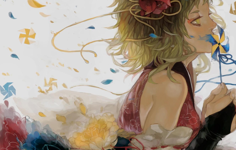 Photo wallpaper girl, flowers, art, tape, profile, vocaloid, gumi, renos