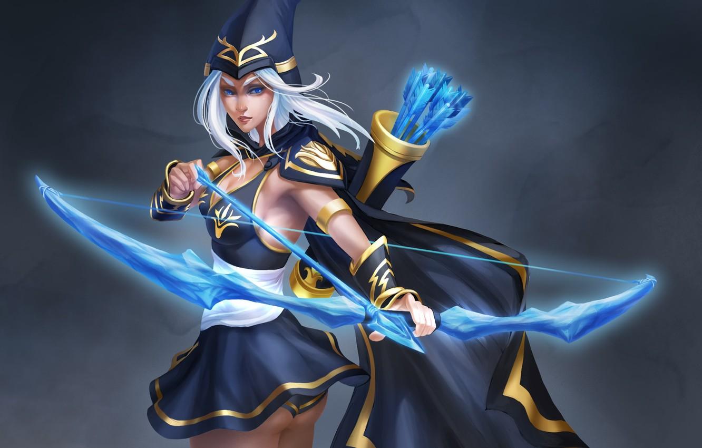 Photo wallpaper girl, background, bow, Archer, art, league of legends, ashe