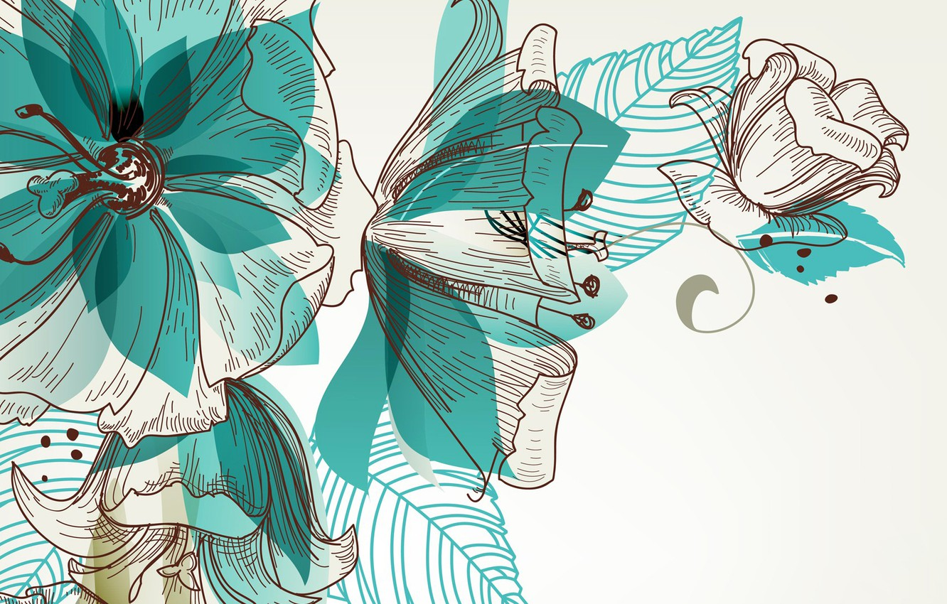 Photo wallpaper line, flowers, abstraction, figure